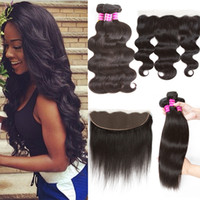 Wholesale Indian Virgin Frontal Closures - New Arrival Mix Texture Brazilian Body Wave Peruvian Straight Hair 3 bundles with frontal closure Indian Virgin Human Hair Weaves Closure