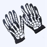 Wholesale Wholesale Skull Gloves - Halloween Skeleton Bone Fancy Dress Gloves Cosplay Gloves Skull Glove For Party Carnival Masquerade Easter Gloves 1000pairs OOA2898