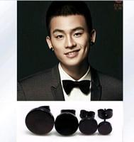 Wholesale Mens Round Earrings - Round Cake 316L Stainless Steel Diameter 6mm 8mm 10mm 12mm Anti allergic Mens Earrings Black Studs