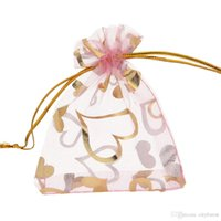 Wholesale Drawstring Pink Gift Bag - 100 Pcs Pink Love Heart Organza Jewelry Gift Pouch Bags 7x9cm (2.7X 3.5 inch) Drawstring Bag Organza Gift Candy Bags DIY Gift Bags