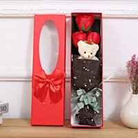 Wholesale cute valentines day gifts online - Artificial Flower Romantic Soap Immortal Rose With Little Cute Bear Doll Valentine Day Gift Party Favor Delicate Boxed hr F R
