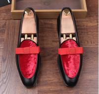 zapatos de boda estilo arco al por mayor-Nuevo estilo de charol genuino de los hombres de boda zapatos de vestir con pajarita banquete formal hombres mocasines pisos recepción fiesta zapatos