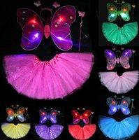 ingrosso ali libere di fata-200Sets Fedex Free LED lampeggiante Glow Two Layers Fairy Wings Set Ala / Fascia per capelli / Bacchetta Ala di farfalla con vestito da Tutu Regalo di Natale