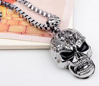 ingrosso catena di collegamento del cranio-Skull Link Chain Collane Halloween Maschile Skeleton Pandent Collana Uomo Argento Neckless Vintage Colar Masculino Hip Hop Punk di danza Jewlery
