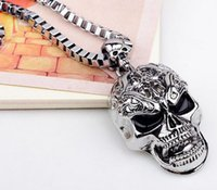 Wholesale Neckless Man - Skull Link Chain Necklaces Halloween Male Skeleton Pandent Necklace Men Silver Neckless Vintage Colar Masculino Hip Hop Dance Punk Jewlery