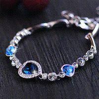 Wholesale European Charms Stand - Top sapphire crystal bracelet Korean fashion jewelry blue bracelets rhinestone crystal bracelet bangle bangle stand bracelet display rack