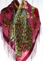 peacock xales seda venda por atacado-110 cm Quadrado de veludo sentimento de seda Nylon rayon pavão Queimar Fora Duster Ópera Xaile Envoltório do lenço das mulheres menina GRANDE 6 pçs / lote # 4047