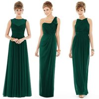 Wholesale Emerald Green One Shoulder Dress - Cheap Plus Size Three Style Sweetheart One Shoulder Emerald Green Chiffon Bridesmaid Dresses 2017 Wedding Party Dresses