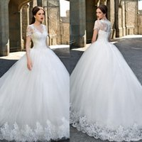 Wholesale Red Catalog - Catalog V-neck Ball Gown Wedding Dresses Lace Applique Short Sleeve V Neck Beach Wedding Gowns Sweep Train Button Tulle Bride Dress