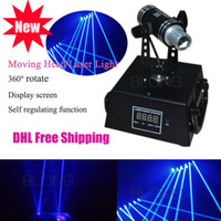 Wholesale Dj Light Curtain - 360° Rotation 200mw Blue Mini Moving head Laser Light for DJ Bar DMX512 Model Stage Laser Projector Effect of Laser Curtain