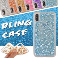 Gold Bling Paillette Sequin Ultra fino Slim Shockproof Rubber Clear TPU capa traseira para iPhone X 8 7 Plus 6 6S SE 5S Samsung S8 S7 Edge