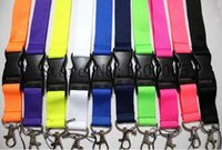 Wholesale Cell Phone Car Keys - 100Pcs Fashion Detachable Cell Phone Lanyard MP3 4 Key chain ID Badge Neck Strap With buckle Man Woman Favor #