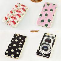 Wholesale Luxury I5 Covers - Phone Case Cartoon for Apple iPhone i4 i5 i6 i7 Luxury Painting Flower Case Colorfully Protector PC Back Cover