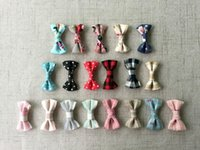 Wholesale Diy Tie Clip - Small Fabric Ribbon Bows with Printed Mini Cotton Bow Tie Hair Clip Jewelry Making Wedding Party DIY Accessories QueenBaby