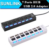 Wholesale Usb Switches - Multi LED 7 Ports High Speed USB Hub 2.0 480Mbps Hub USB On Off Switch Portable USB Splitter Peripherals Accessories For Computer