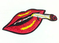 Wholesale B Patches - Wholesales~10 Pieces Punk Smoking Mouth Red Lips (4 x 7.5 cm) Cool Patch Embroidered Iron on Applique Patch (B)