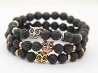 2016 New Arrival Mens Beaded Bracelets Atacado 8mm Lava Rock Stone Beads Owl Eagle Bracelets Party Gifts