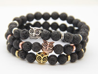 Wholesale Owl New Arrivals - 2016 New Arrival Mens Beaded Bracelets Wholesale 8mm Lava Rock Stone Beads Owl Eagle Bracelets Party Gifts