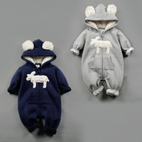Wholesale Warm Rompers - NEW 2 Design infant Kids Winter Cashmere Romper Stereo Little Sheep long sleeve baby warm Climb clothe boy girls Winter Rompers set RMY40