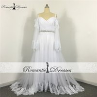 Wholesale Thin Neck Wrap - Boho Beach Wedding Dresses Flare Sleeves White Tulle 100% Real Photos Romantic Thin Straps Long Sleeve Lace Wedding Gown 2017