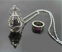 Wholesale Puella Magi Madoka Magica Wig - New Puella Magi Madoka Magica Akemi Homura Cosplay Soul Gem Necklace Ring set
