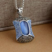Wholesale Opal Inlay Necklace - S925 sterling silver pendants Thai silver craft inlaid blue opal