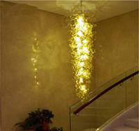 qualität führte lichter porzellan großhandel-Qualität hergestellt in China Schöner Glasleuchter, lange LED-Beleuchtung, zitronengelber Murano-Glasleuchter