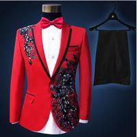 Wholesale Man S Suit Size 46 - Plus Size Men Suits ( Jacket + Pants ) S-4XL Fashion Black Paillette Embroidered Male Singer Slim Performance Party Prom Costume