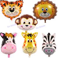 şişirilebilir balon hayvanlar toptan satış-Mini Hayvan kafa folyo balonlar 50 adet kaplan geyik maymun kafa balon şişme hava globos çocuk oyuncakları hayvan tema doğum günü parti süslemeleri