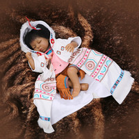 Wholesale Ethnic Fashion Dolls - 22 inch Soft Silicone vinyl Native American Indian Black Color Ethnic 55cm Reborn Baby Dolls in Ethnic Clothes
