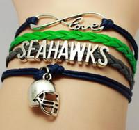 Wholesale Snake Leather Wholesale - Infinity Love Seattle State Seahawks Football Team Bracelet green blue Customize Sport friendship Bracelets 100000 styles in stock
