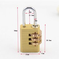 Wholesale 10Pcs digits adjustable Mini Brass padlock Drawer cabinet suitcase backpack zipper pull rod box Coded padlock DL_HPL003