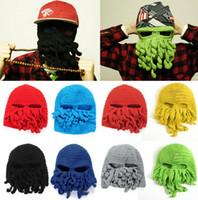 ahtapot maske yünü toptan satış-Ahtapot Örme şapka hip hop tarzı Katı kış sıcak kapaklar komik ahtapot yün kap parti Cadılar Bayramı Günü Yün Yüz Maskesi Örgü Şapka KKA2628