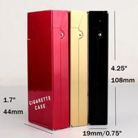 Wholesale Cigarette Woman - Lady Women Slim Aluminum Cigarette Case Metal Holder Box for 100's King Size Hold 20 Cigarette