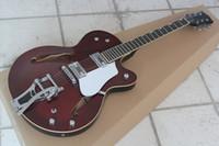 freie hohlkörpergitarre großhandel-Kostenloser versand Top Qualität Guitar Factory Custom Shop Wein Rot Falcon Semi Hohlkörper 6120 Jazz E-gitarre Mit Tremolo