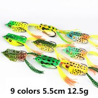 Wholesale Soft Lures Free Ship - New Rubber Plastic Frog Lure 12.5g 5.5cm Top water Lifelike Frog Hollow Body Soft Bait Pesca Fishing Tackle free shipping