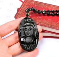 Wholesale Carved Kwan Yin Pendants - 100% beautiful Chinese Black Natural A Obsidian Carved Kwan-yin pendant