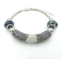 Wholesale Tube Bar Crystals - JLN European Beads Bracelet Snake chain Crystal Tube Crystal Bar Bracelet DIY Jewelry For Man Women 0112