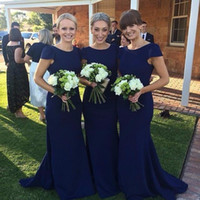 Wholesale silk long train wedding dresses for sale - Group buy Short Cap Sleeves Dark Navy Bridesmaid Dresses Mermaid Jewel Neck Sweep Train Maid of Honor Groups Gowns Wedding Guest Party Dresses