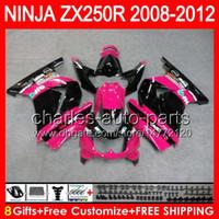Wholesale Ninja Kawasaki Fairings Pink - pink black8gifts+Body For KAWASAKI gloss black NINJA ZX 250R 08-12 2NO54 ZX250R 08 09 10 11 12 ZX-250 ZX250 R 2008 2009 2010 2012 Fairing