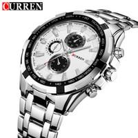 бесплатная поставка оптовых-CURREN мода мужские часы регулируемая Fulll нержавеющей стали ремешок для часов мужские Спортивные кварцевые наручные 8023 Бесплатная доставка