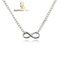 Wholesale Luxury Charms - Promotions Fashion Luxury Charm Gold Plated Silver Plated Sweater Chain Necklace Jewelry Infinity Pendant Necklace Jewelry Women 2016