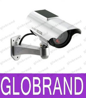 Wholesale Dummy Solar Powered Cctv Cameras - Solar Power Imitation High Simulation Home CCTV Security Dummy Camera Fake Bullet Waterproof Outdoor Surveillance Cameras GLO618