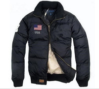 Wholesale Famous Cotton Tops - 2016 Top Stand Collar Warm US Flag Famous Pony Down jacket Fashion Appliques Zipper Outerwear more color sports cotton Horse Parkas coats
