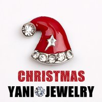 Wholesale Red Hat Charm Bracelet - Enamel Alloy Charms Pendants Christmas Red Hat Floating Locket Charms for Bracelet Living Glass Locket Necklaces