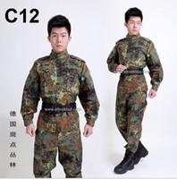 Wholesale Emerson Shirt Pants - Wholesale German flecktarn camo military uniform camouflage suit CS paintball army clothing emerson combat shirt + pants tactical jacket