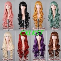 """Wholesale Anime Girl Pink Curly Hair - New 32"""" 80cm Heat Synthetic Hair Long Curly Wavy Bangs Cosplay Anime Full Wig Free Shipping"""