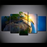 ingrosso dipinti di arte 3d per le pareti-5 pezzi / set 3D Earth Sights Universe Canvas Dipinti Home Decor Wall Art Poster incorniciati HD Stampe Immagini Pittura