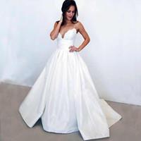 Wholesale taffeta empire wedding dress pink - Elegant Spaghetti Straps Lace Wedding Dresses 2018 A-Line Bridal Gowns sexy taffeta white modest wedding gowns plus size Vestios De Novia