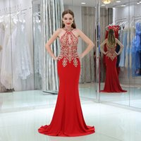Stock Real Real Red Abendkleid Meerjungfrau 2017 High Neck Spitze Applique Schwarz Mädchen Afrikanische Prom Party Kleider Formal Wear Plus Size